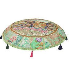 Indian Ottoman Footstool Pouf Cover Decorative Cotton Floor Ottoman Pillow Cover