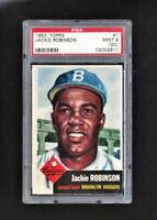 ⚾1953 Topps #1 Jackie Robinson PSA 9 MINT Population 1/1 Ultra Sharp First Card!