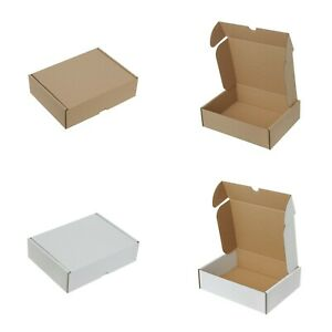 WHITE & BROWN SHIPPING CARDBOARD BOXES SMALL PARCEL LARGE LETTER POSTAL MAILING