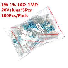 100Pcs 20Values 10-1M Ohm 1W 1% Metal Film Resistor Assortment Kit Assorted Set