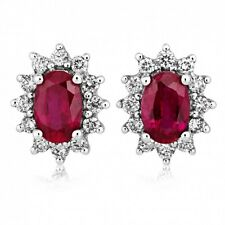White Gold 2.00 Carat Oval Natural Ruby and Diamond Cluster Earring.