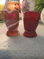 "Imperial Ruby Slag Glass Owl Creamer and Sugar ""Ruby End Of Day"""