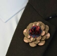 Wood Rose Flower Lapel Pin Men Women Wedding suit pin Brooch Pin enamel pins
