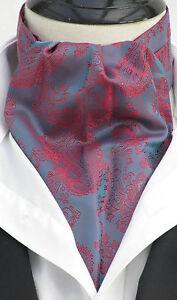 Mens Blue & Burgundy Paisley Silky Satin Ascot Cravat & Pocket Square - UK Made
