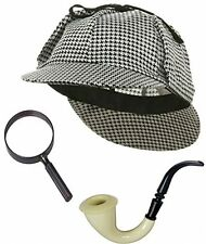 Sherlock Holmes Detective Bundle- Detective Hat Costume Pipe and Magnifying