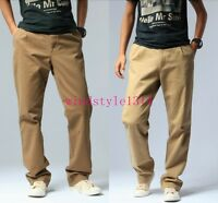 Casual Men's Cotton Pants Loose Fit Long Trousers Straight Legs Fashion SZ 29-42