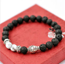 Lava Rock and White Howlite Stone Silver Buddha Head Men's Bracelet 8mm Beads HS