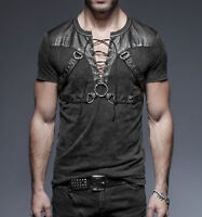 Punk Rave Casual Men's Gothic Rock Metal T-Shirt Top casual Steampunk Black Top
