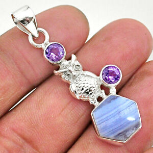 September Sale Silver 6.33cts Natural Blue Lace Agate Amethyst Pendant R96899