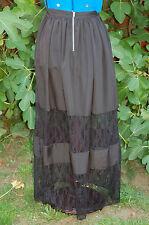 NEW Sz 8 Miss Selfridge 2 wide Lace panel Black Maxi Summer Skirt exposd zip