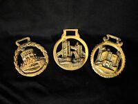 "1950-1960  Lot of 3 Ornament Medals/Buckles ""Brass-Horse"","