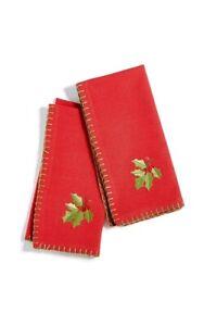 Bardwil Holly 2 Piece Napkin Set Medium Red 4 pack