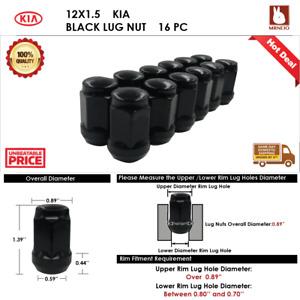 16PC KIA RIO/SEPHIA/SPECTRA 12X1.5 BLACK  ACORN WHEEL LUG NUTS