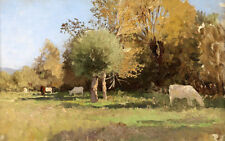 Hand paint impressionism oil painting cows cattles eating grass in summer season