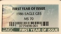 1986*FIRST YEAR OF ISSUE*$5 Gold Eagle NGC MS70 FREE SHIP