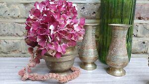 Vintage Brass Mesh Indian Rose Bowl Bud Flower Posy Vase Home Country Decor