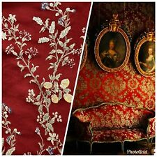NEW! Brocade Jacquard Satin Fabric - Dark Red Upholstery Damask