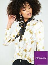 BNWT River Island Chain Print Tie Neck Blouse Top White Size UK 8