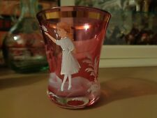 Antique Mary Gregory Painted Toothpick Holdier Cordial Cranberry Glass