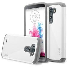 LG G3 Case,  Hard Impact Dual Layer Shockproof Bumper Case - White