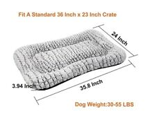 New listing Coohom Deluxe Plush Dog Bed Pet Cushion Crate Mat Washable Gray Med/Large Dog