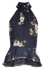 Joie Women's 10 Abbigayl Midnight Chiffon High Low Peplum Halter Top NWT $248