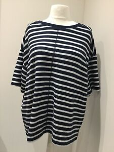 BNWT MARKS & SPENCER TOP UK 22 RELAXED FIT NAVY WHITE STRIPES DROP SLEEVE SOFT
