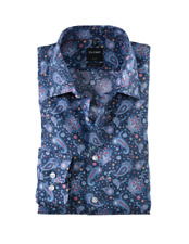 """Olymp ® Modern Fit Paisley Bedruckt Hemd/Rot/Blau - 16.5"""" (L) NEU ss20!"""