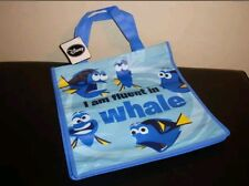 """Finding Dory Reusable Shopping Tote Bag Blue Fish I am Fluent in Whale 12 x 6"""""""