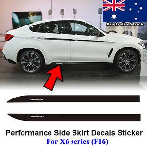 2pcs M Performance Side Skirt Stripe Decals Vinyl Sticker for BMW F16 F86 X6 SUV