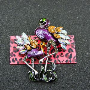 Betsey Johnson Purple Enamel Rhinestone Cute Flamingo Charm Woman Brooch Pin