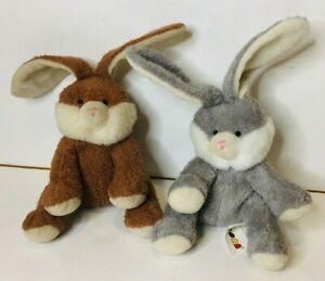 AURORA Baby Bunny Rabbits Grey, White and Brown Soft 20cm Plush Stuffed Animals