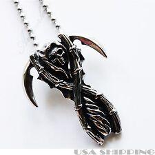 316L Stainless Steel Grim Reaper Skull Pendant Necklace Chain for men