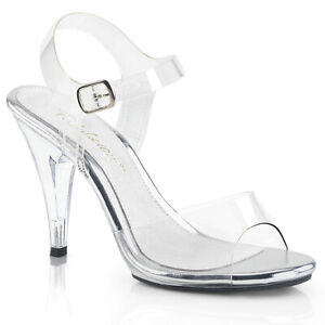 """4"""" Clear Fitness Pageant NPC Contest Competition Heels Glass Slippers Shoes"""