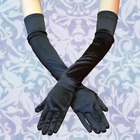 BLACK Women Evening Party Wedding Opera Arm Finger Elbow Long Satin Gloves USA