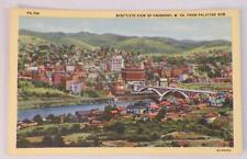 Bird's Eye View of Fairmont W Va Postcard From Palatine Nob Linen 1940s Unposted