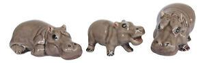Hippopotamus Miniature Ceramic Hippo's Figurine Set/3