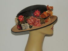 Edwardian Straw Hat w Beautiful Flowers MED
