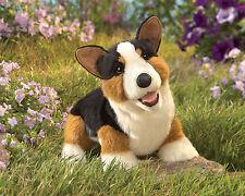 Folkmanis Corgi Puppy Dog Hand Puppet Black Brown White Stuffed Animal 3yrs+ NEW