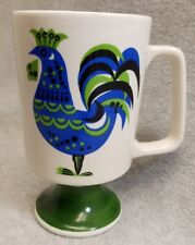Vintage 1970s Ceramic Enesco Blue Green Rooster Footed Mug Cup Retro