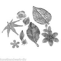 KUS 10 Mix Blume Baumblatt Charm Anhänger Kettenanhänger Antiksilber