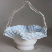 Antique Hand Blown BLUE SATIN GLASS BASKET w/ THORN HANDLE Cased Glass RUFFLED