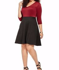 Lucie Lu Stretchy Jersey A Line Colorblocked Skater Dress In Wine N Black SZ 1X
