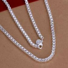 Fashion 925Sterling Solid Silver Men Jewelry Box Chain Necklace For Women N016