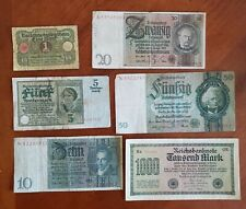 6 German Reichsmark Notes (1920, 1926, 1929, 29,1933, 1922) Circulated Condition