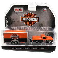 MAISTO 15363 HD1 HARLEY DAVIDSON 1987 CHEVROLET PICK UP 1/64 with TRAILER ORANGE