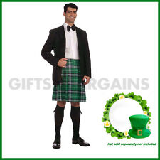 St Patrick's Day Adult Irish Costume Gentleman Kilt Green Plaid Skirt Pats XL