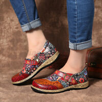 SOCOFY Women Buckle Fancy Flowers Splicing Genuine Leather Stitching Shoes   *