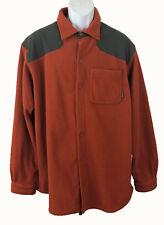 Columbia Men's Long Sleeve Button Down Fleece Jacket Orange Gray XL