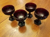 Avon Cape Cod Ruby Red Goblet Cordial Port Glass Set of 4